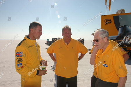Andy Green, Land Speed record holder, Richard Noble, ex-Land Speed record holder and Ron Ayres who masterminded the aerodynamics of Thrust 2, ThrustSSC and JCB Dieselmax. The car broke the SCTA (Southern California Timing Association) record for diesel cars with a second run which exceeded 350 MPH at one point. The record over two measured mile runs now stands at 317.021mph. The run wasn't without drama, the first braking parachute broke off the car as soon as it was deployed, the second was also damaged, but was able to bring the car to a stop some 1 1/2 miles off the end of the track. The car is now being rebuilt with the bigger 750 Hp engines and should be ready Monday for a challenge on the FIA land speed record for Diesel cars, it is hoped it will achieve a 350 MPH average over 2 runs in opposite directions within one hour. The car is patently capable of more than this but that's the speed rating of the tyres.