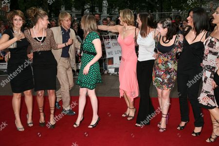 Owen Wilson with the girls from 'How do you solve a problem like Maria' programme - Connie Fisher, Siobhan Dillon, Abi Finley, Aoife Mulholland, Helena Blackman, Leanne Dobinson, Meliz Serman and Simona Armstrong