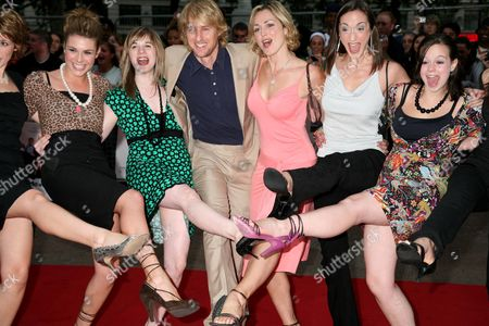 Owen Wilson with the girls from 'How do you solve a problem like Maria' programme - Siobhan Dillon, Abi Finley, Owen Wilson, Aoife Mulholland, Helena Blackman and Leanne Dobinson