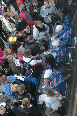 Subaru drivers Colin Turkington, James Cole and Jason plato greet the fans during the final round of the Dunlop MSA British Touring Car Championship (BTCC) at Brands Hatch's Grand Prix circuit.
