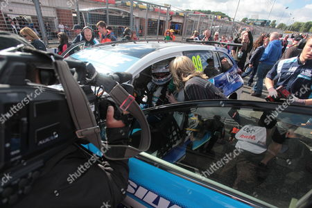Louise Goodman interviews Jason Plato (Subaru) on the grid prior to the action at the final round of the Dunlop MSA British Touring Car Championship (BTCC) at Brands Hatch's Grand Prix circuit.