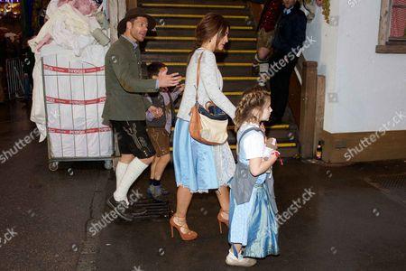 Xabi Alonso and wife Nagore Aranburu with son Jontxu and daughter Ane