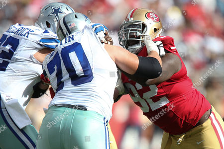 Dallas Cowboys guard Zack Martin (70) blocks San Francisco 49ers defensive end Quinton Dial (92) during the NFL football game between the Dallas Cowboys and the San Francisco 49ers at Levi's Stadium in Santa Clara, California. The Dallas Cowboys defeated the San Francisco 49ers 24-17