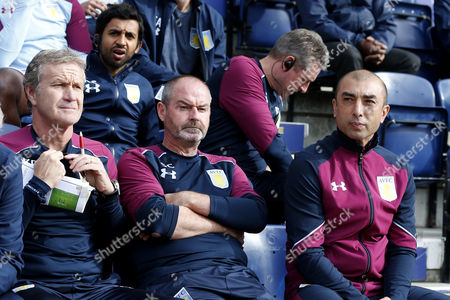 Aston Villa manager Roberto Di Matteo sits next to Assistant Manager Steve Clarke and coach Kevin Bond during the SKY BET Championship match between Preston North End and Aston Villa played at Deepdale, Preston on 1st October 2016