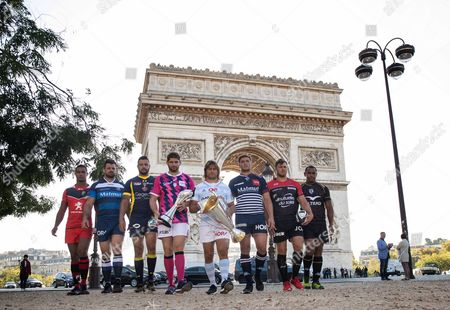 2016/2017 EPCR European Rugby Champions Cup & European Rugby Challenge Cup Launch, Paris, France 3/10/2016. (L-R) Thierry Dusautoir of Toulouse, Rodrigo Capo Ortega of Castres, Damien Chouly of Clermont Auvergne, Pascal Pape of Stade Francais, Dimitri Szarzewski of Racing 92, Louis-Benoit Madaule of Begles-Bordeaux, Duane Vermeulen of Toulon and Akapusi Qera of Montpellier in front of the Arc de Triomphe