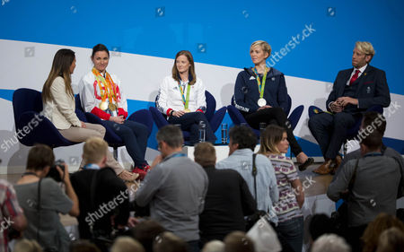 Olympians Dame Sarah Storey, Helen Richardson-Walsh, Victoria Thornley and Andrew Triggs speak on stage on the second day of the Conservative party conference