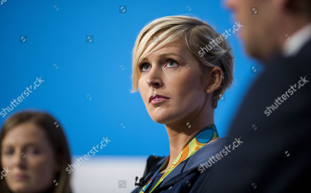 Olympic rower Victoria Thornley speaks on stage on the second day of the Conservative party conference