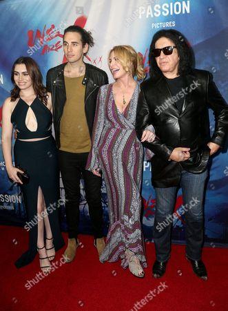 Stock Image of Sophie Tweed-Simmons, Nick Tweed-Simmons, Shannon Tweed Simmons and Gene Simmons