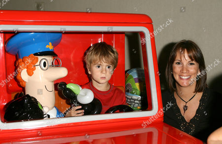 Andrea McLean and son Finley with Postman Pat