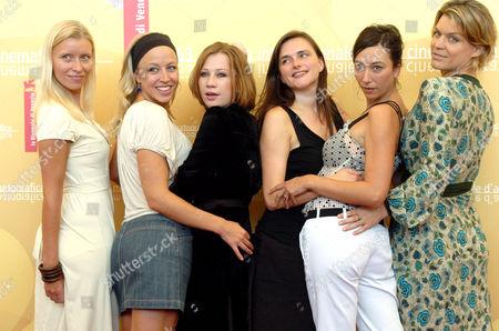 Cast of Fallen - Gabriela Hegedus, Birgit Minichmayr, Nina Proll, Barbara Allen, Ursula Strauss and Kathrin Resetarits