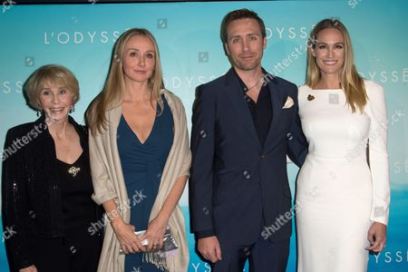 Francine Cousteau, Alexandra Cousteau and Philippe Cousteau and his wife Ashlan Gorse
