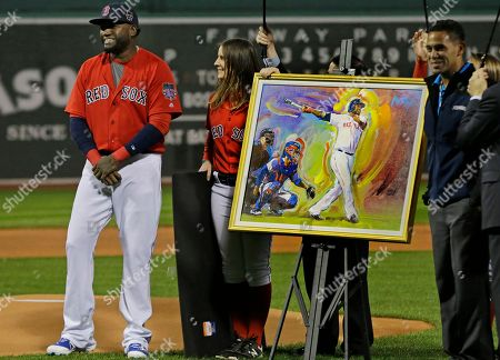 David Ortiz Boston Red Sox's David Ortiz smiles next to a portrait of him by artist Peter Max as he is honored before a baseball game against the Toronto Blue Jays at Fenway Park, in Boston