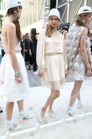 Editorial image of Chanel show, Backstage, Spring Summer 2017, Paris Fashion Week, France - 04 Oct 2016