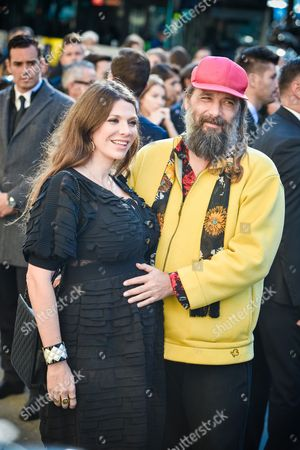 French singer and songwriter Sebastien Tellier and his wife Amandine De La Richardiere arrive at Chanel Spring-Summer 2017 ready-to-wear collection presented in Paris