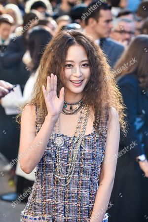 American-born South Korean actress Han Ye-seul arrives at Chanel Spring-Summer 2017 ready-to-wear collection presented in Paris