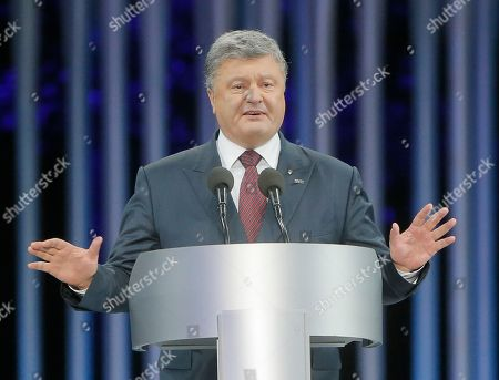 Petro Poroshenko Ukraine's President Petro Poroshenko addresses guests at a ceremony on the 75th anniversary of the 1941 Babi Yar massacre in Kiev, Ukraine, . Nazi troops machine-gunned tens of thousands of Jews during WWII in Babi Yar ravine