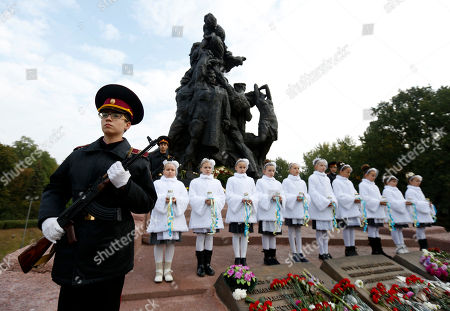 Kiev Cadets honor guard takes part in commemorative events at the Babi Yar ravine where Nazi troops machine-gunned tens of thousands of Jews during WWII, in Kiev, Ukraine, . Ukraine commemorated the 75th anniversary of the 1941 Babi Yar massacre
