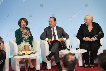 Stock Photo of French President Francois Hollande, Marisol Touraine and Pascale Boistard during a ceremony for the start of week for retired and elderly people