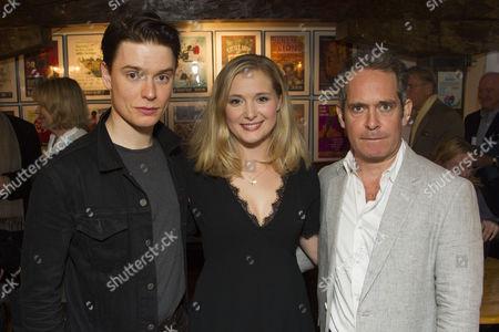 Freddie Fox (Tristan Tzara), Amy Morgan (Gwendolen) and Tom Hollander (Henry Carr)