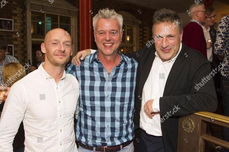 Stock Photo of Ross Edwards (Associate Designer), Tim Hatley (Designer) and Patrick Marber (Director)