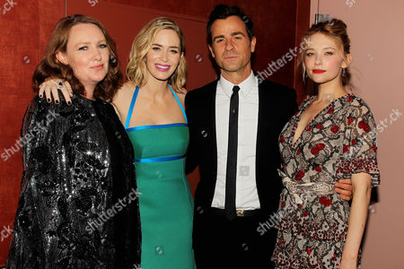 Paula Hawkins, Emily Blunt, Justin Theroux and Haley Bennett