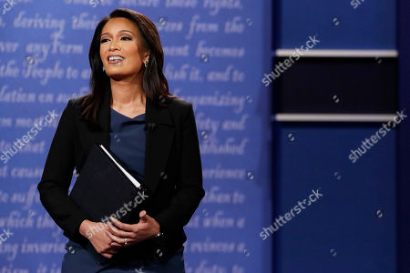 Moderator Elaine Quijano of CBS News addresses the audience before the debate between Republican vice-presidential nominee Gov. Mike Pence and Democratic vice-presidential nominee Sen. Tim Kaine at Longwood University in Farmville, Va