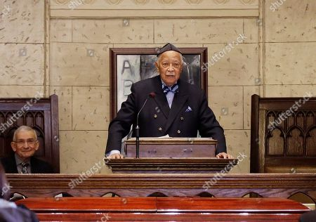 David Dinkins Former New York City Mayor David Dinkins speaks during a funeral service for actor Abe Vigoda in New York, . A spokeswoman for the 88-year-old Dinkins said Saturday, Feb. 27, 2016 that he remains in intensive care at New York Presbyterian Hospital with pneumonia