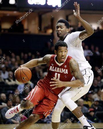 Shannon Hale, Damian Jones Alabama forward Shannon Hale (11) drives against Vanderbilt center Damian Jones in the first half of an NCAA college basketball game, in Nashville, Tenn