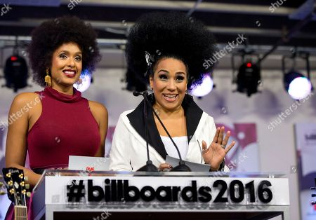 Aymee Nuviola, Jeimy Osorio Actresses Jeimy Osorio, left, of Puerto Rico, and Aymee Nuviola of Cuba, help announce finalists for the 2016 Billboard Latin Music Awards during a news conference, in Miami. The awards show will be broadcast live on Telemundo, April 28