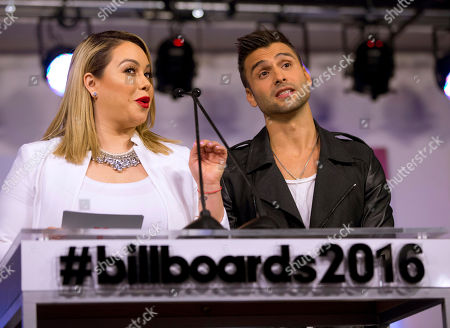 Chiquis Rivera, Christian Daniel Singer and television personality Chiquis Rivera, left, and Puerto Rican singer Christian Daniel announce finalists for the 2016 Billboard Latin Music Awards during a news conference, in Miami. The awards show will be broadcast live on Telemundo, April 28
