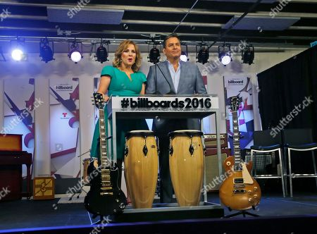 Ana Maria Canseco, Daniel Sarcos Hosts Ana Maria Canseco, left, of Mexico, and Daniel Sarcos of Venezuela, introduce guests who will announce finalists for the 2016 Billboard Latin Music Awards during a news conference, in Miami. The awards show will be broadcast live on Telemundo, April 28
