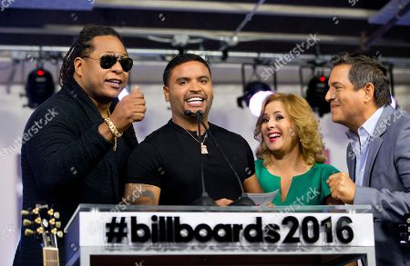 Zion & Lennox, Ana Maria Canseco, Daniel Sarcos Puerto Rican Reggaeton artists Zion & Lennox, left, share a laugh with hosts Ana Maria Canseco, second from right, and Daniel Sarcos, right, as they help announce finalists for the 2016 Billboard Latin Music Awards during a news conference, in Miami. The awards show will be broadcast live on Telemundo, April 28