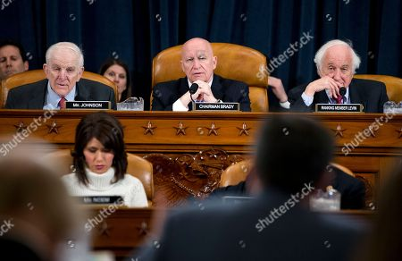 Jacob Lew, Kevin Brady, Sam Johnson Rep. Sam Johnson, R-Texas, left, House Ways and Means Committee Chairman Rep. Kevin Brady, R-Texas, and the committee's ranking member Sander Levin, D-Mich., listen as Treasury Secretary Jacob Lew testifies on Capitol Hill in Washington, before the House Ways and Means Committee hearing on the Treasury Department's fiscal 2017 budget