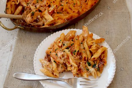 This photo shows baked penne pasta with proscuitto and fontina cheese in Concord, N.H. This dish is from a recipe by Sara Moulton