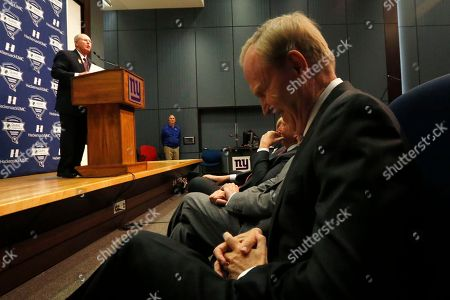 Tom Coughlin, John Mara New York Giants owner John Mara, right, reacts as former New York Giants head coach Tom Coughlin, left, speaks about stepping down as head coach during a news conference, in East Rutherford, N.J