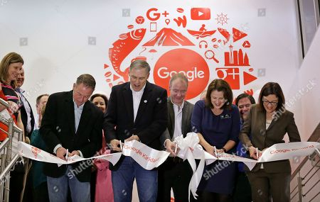 Jay Inslee, Suzan DelBene, Amy Walen Officials cut a ceremonial ribbon to officially open the expansion of Google's campus, in Kirkland, Wash. From left are Darcy Nothnagle (Google Head of External Affairs for the NW), Dave Tomson (SRM Development), Gov. Jay Inslee, Peter Wilson (Google Kirkland Site Lead), Kirkland Mayor Amy Walen, Kirkland Deputy Mayor Jay Arnold, and Rep. Suzan DelBene. The expansion doubles the size of the campus and makes Google's Puget Sound Operations the third-largest engineering center for the company in the country. The campus is home to engineering teams working on Google products that include Hangouts, Cloud, Chrome and Ads