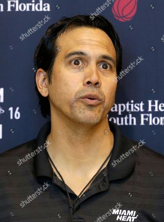 Erik Spoelstra Miami Heat coach Erik Spoelstra talks to a reporter, in Miami. The team ended the All-Star break Wednesday and resumed practice for the second half of a season that will be considerably tougher without their forward Chris Bosh, who is dealing again with blood clots