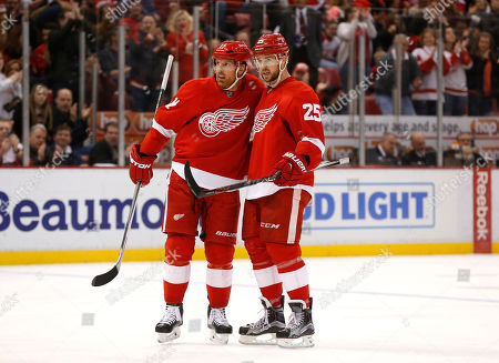 Detroit Red Wings defenseman Mike Green (25) celebrates his goal against the New York Islanders with Brad Richards in the second period of an NHL hockey game, in Detroit