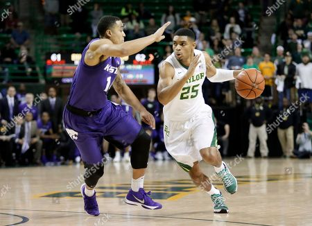 Al Freeman, Justin Edwards Kansas State guard Justin Edwards (14) defends as Baylor's Al Freeman (25) handles the ball during an NCAA college basketball game, in Waco, Texas