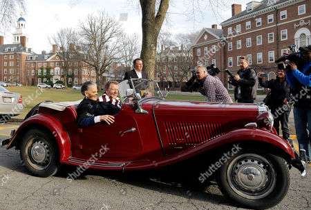 """Ali MacGraw, Ryan O'Neal Actors Ali MacGraw and Ryan O'Neal drive up in an antique MG convertible on the campus of Harvard University in Cambridge, Mass., more than 45 years after the release of their 1970 classic """"Love Story."""" The duo, now in their 70s, currently are co-starring in a national tour of """"Love Letters,"""" which is about a man and a woman who maintain contact over 50 years through notes, cards and letters"""