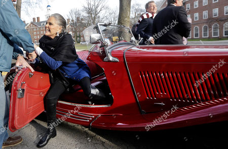 """Ali MacGraw Actor Ali MacGraw is helped out of an antique MG convertible after she and Ryan O'Neal arrived on the campus of Harvard University in Cambridge, Mass., more than 45 years after the release of their 1970 classic """"Love Story."""" The duo, now in their 70s, currently are co-starring in a national tour of """"Love Letters,"""" which is about a man and a woman who maintain contact over 50 years through notes, cards and letters"""