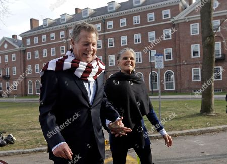 """Stock Image of Ryan O'Neal, Ali MacGraw Actors Ryan O'Neal, left, and Ali MacGraw walk on the campus of Harvard University in Cambridge, Mass., more than 45 years after the release of their 1970 classic """"Love Story."""" The duo, now in their 70s, currently are co-starring in a national tour of """"Love Letters,"""" which is about a man and a woman who maintain contact over 50 years through notes, cards and letters"""