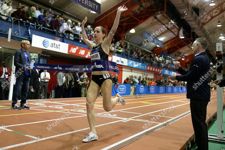 Shannon Rowbury crosses the finish line to win the women's Wanamaker Mile at the Millrose Games, in New York