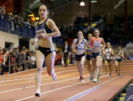Shannon Rowbury, left, leads the pack on the second to last lap of the women's Wanamaker Mile at the Millrose Games, in New York. Rowbury, the defending champion, won the event
