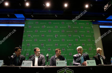 Jordan Morris Jordan Morris, center, talks to reporters along with (from left) Seattle Sounders FC owner Adrian Hanauer, general manager Garth Lagerwey, head coach Sigi Schmid, and sporting director Chris Henderson, in Seattle after the MLS soccer team announced Morris' signing as a forward. Morris, who played for Stanford, was the Hermann Trophy winner in 2015 as the top college player in the country