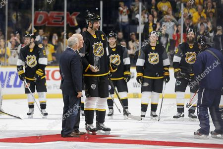John Scott Pacific Division forward John Scott (28) is given the most valuable player award after the NHL hockey All-Star championship game, in Nashville, Tenn. The Pacific Division beat the Atlantic Division 1-0