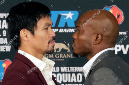 Stock Image of Manny Pacquiao, Timothy Bradley Jr Manny Pacquiao, left, and Timothy Bradley Jr. pose during a news conference in Beverly Hills, Calif., on . Pacquiao and Bradley are scheduled to fight on April 9, 2016, in Las Vegas for Bradley's WBO welterweight title