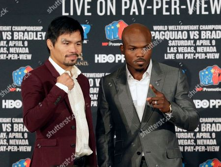 Manny Pacquiao, Timothy Bradley Jr Manny Pacquiao, left, and Timothy Bradley Jr. pose during a news conference in Beverly Hills, Calif., on . Pacquiao and Bradley are scheduled to fight on April 9, 2016, in Las Vegas for Bradley's WBO welterweight title