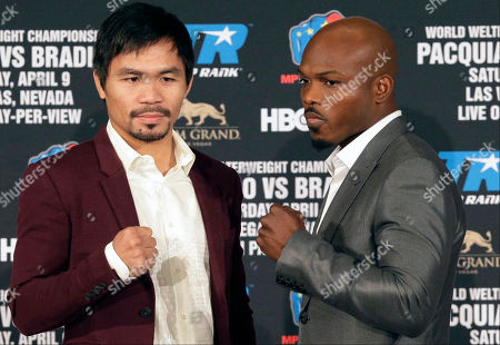 Stock Picture of Manny Pacquiao, Timothy Bradley Jr Manny Pacquiao, left, and Timothy Bradley Jr. pose during a news conference in Beverly Hills, Calif., on . Pacquiao and Bradley are scheduled to fight on April 9, 2016, in Las Vegas for Bradley's WBO welterweight title