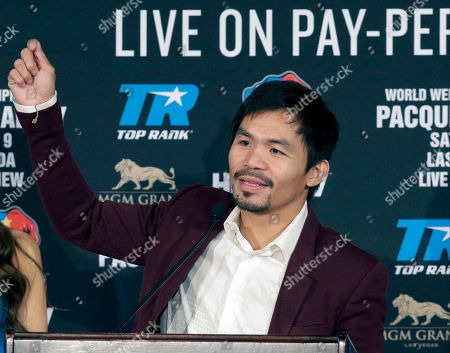 Editorial picture of Pacquiao Bradley Boxing, Beverly Hills, USA